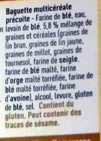 Baguette multicéréales - Ingredients