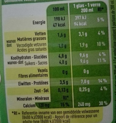 Bio lait demi-écrémé - Nutrition facts - fr