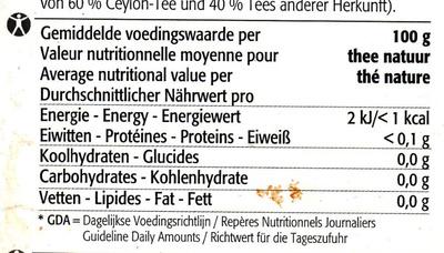 Sachets de the - the noir melange de ceyan - Nutrition facts - fr