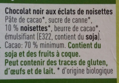 Bio chocolat Noir aux éclats de noisettes - Ingrediënten - fr