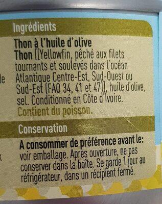 Thon a l huile d'olive - Ingrédients - fr