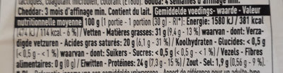Mix gouda cheddar - Nutrition facts