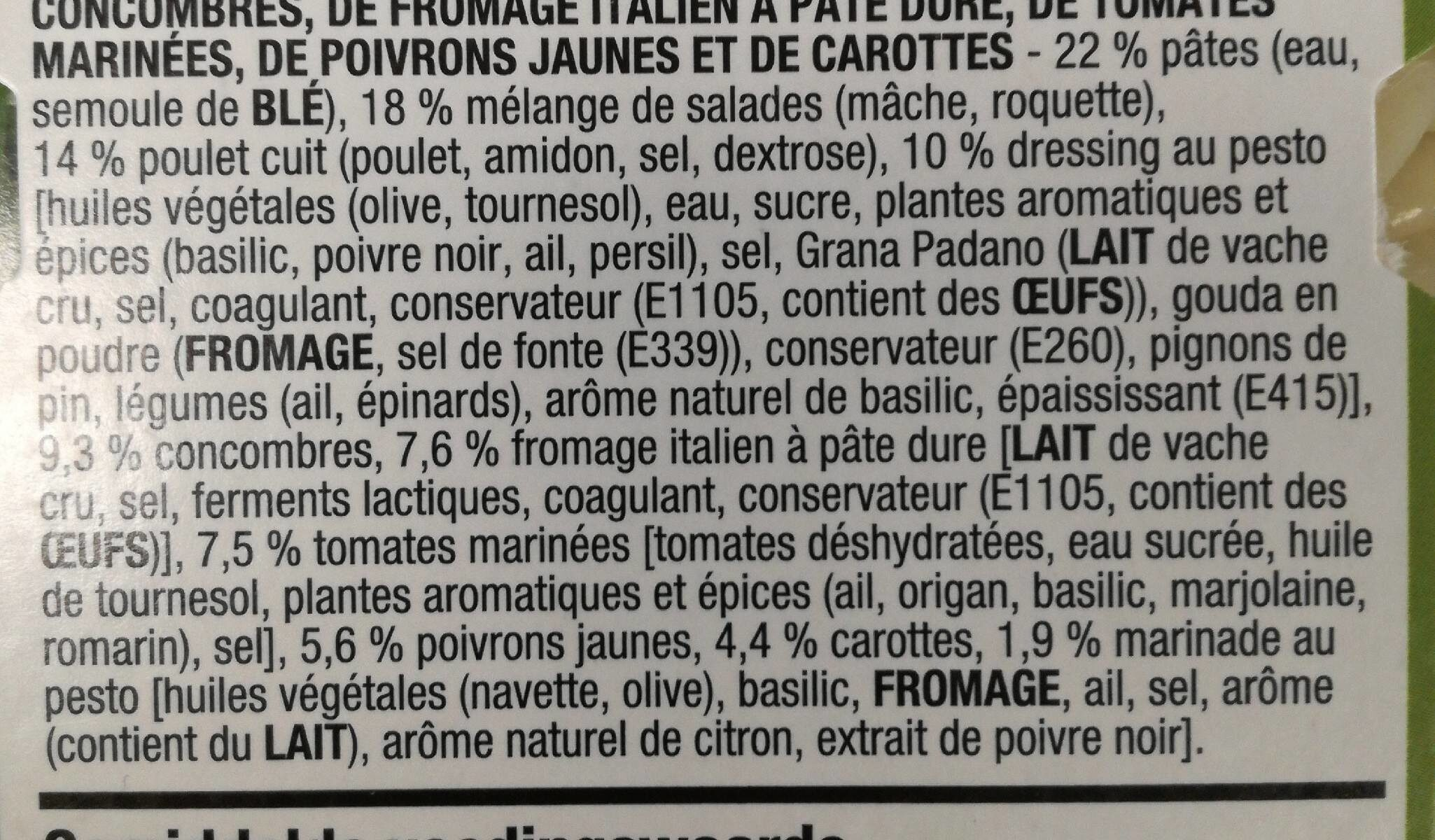 Salade poulet-pesto - Ingrediënten