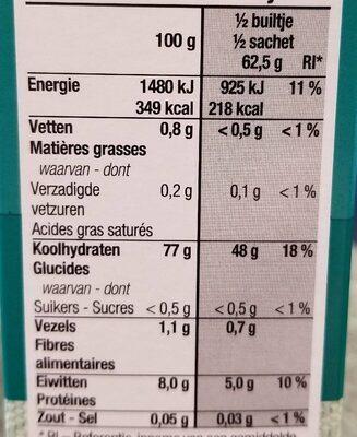 Basmati rijst - Nutrition facts