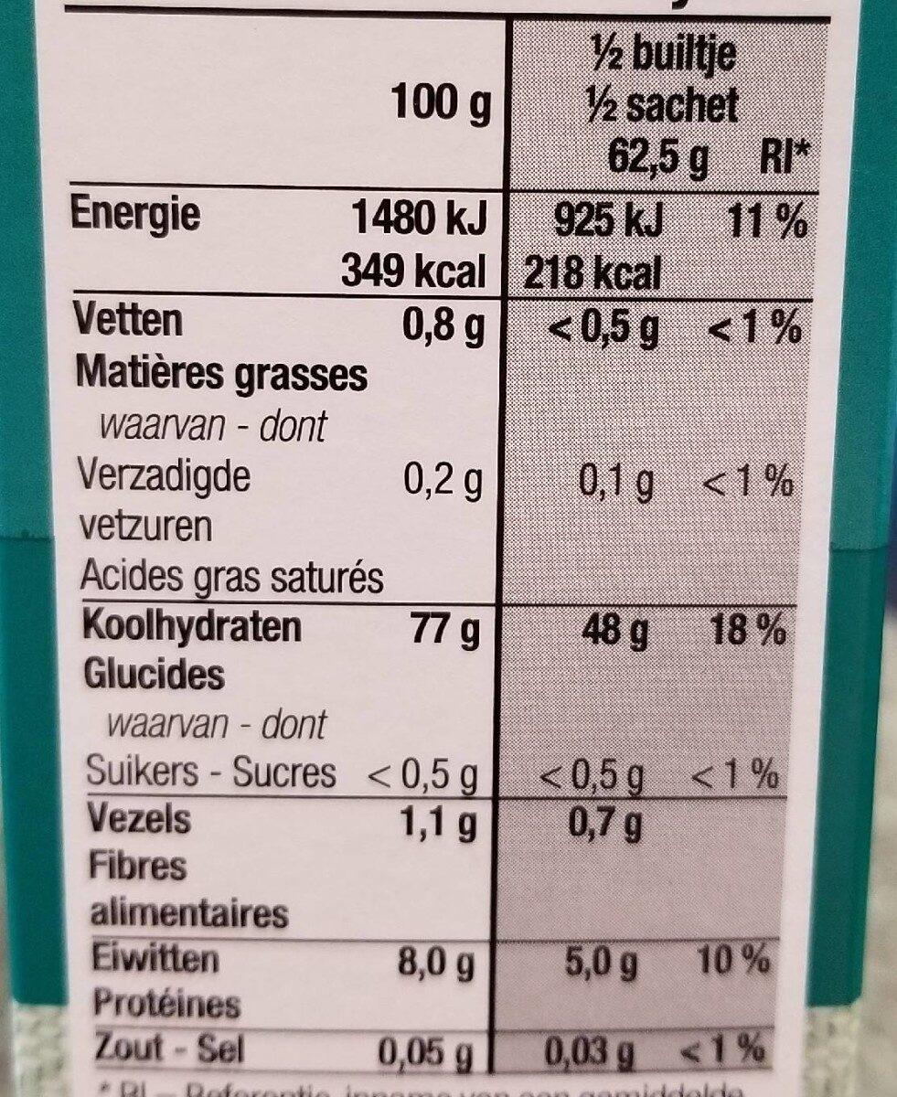 Basmati rijst - Voedingswaarden - en