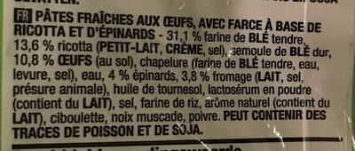 Tortellini ricotta epinards - Ingrediënten