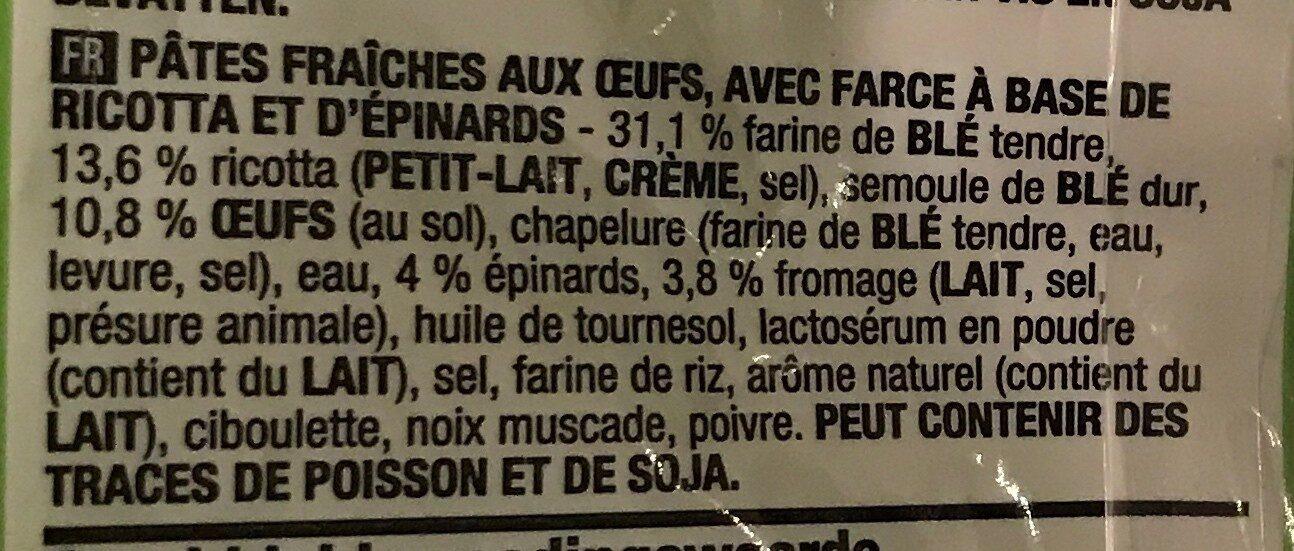Tortellini ricotta epinards - Ingrediënten - fr