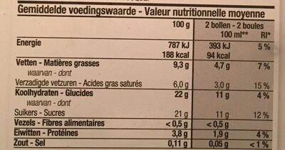 Glace à la vanille - Nutrition facts