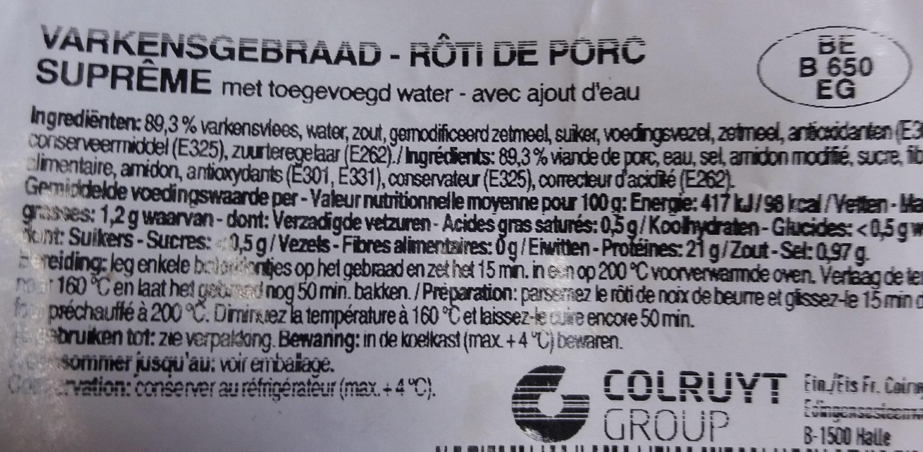 Rôti de porc suprême - Ingredients - fr