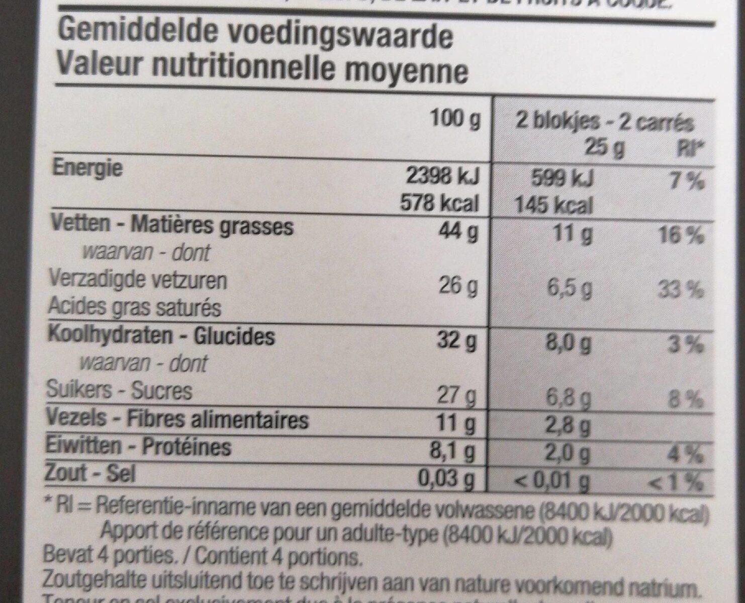 Chocolat noir boni selection - Valori nutrizionali - fr