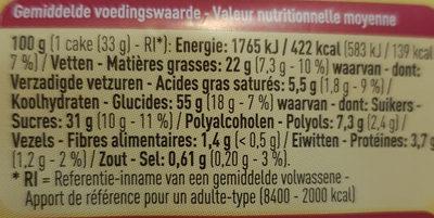 Carré framboise - Informations nutritionnelles - fr