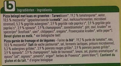 Bio pizza vegetariana - Ingrediënten - fr