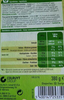 Bio pizza vegetariana - Voedingswaarden - fr