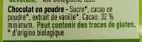 Chocolat En Poudre Bio - Ingrédients