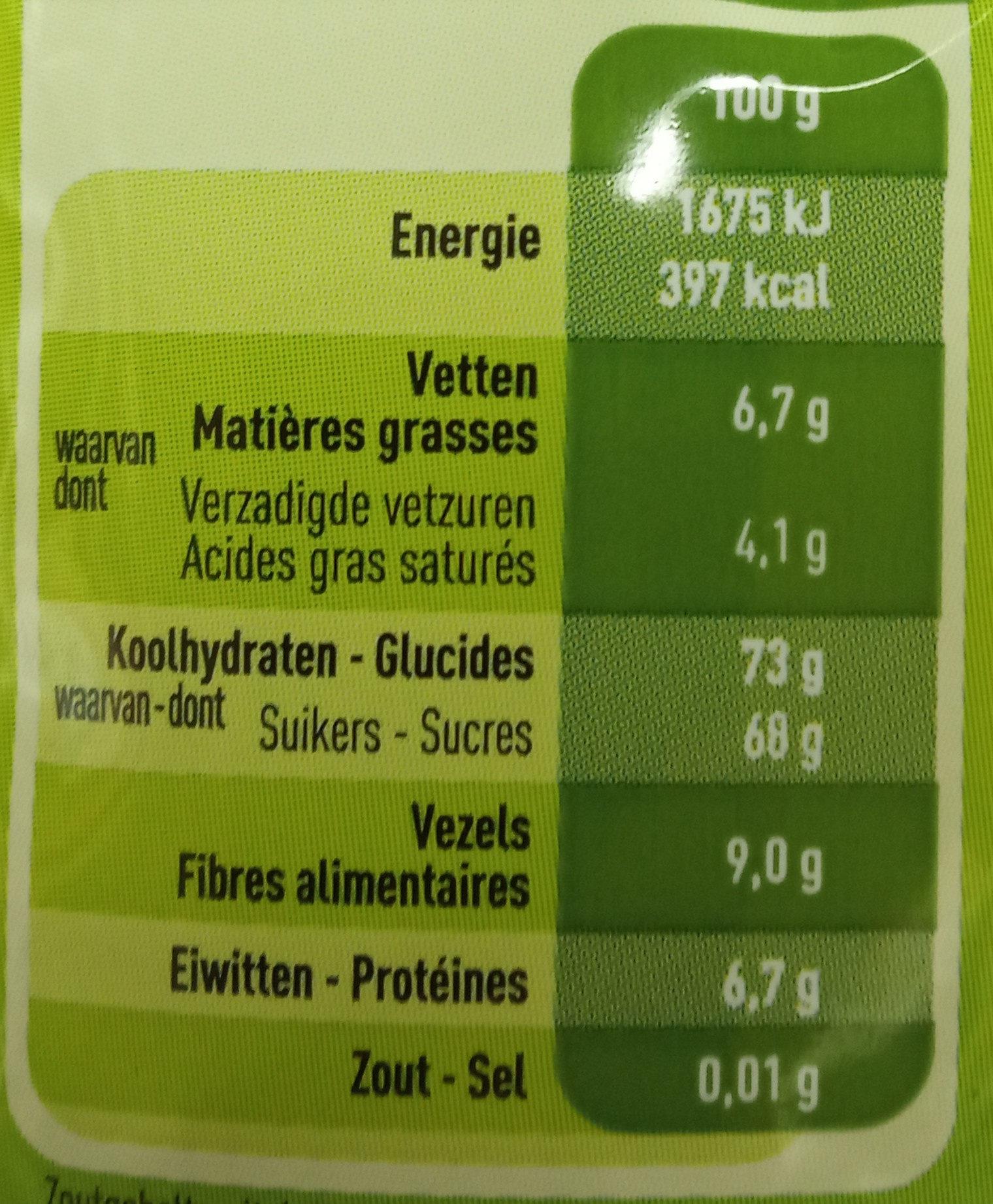 Chocolat En Poudre Bio - Informations nutritionnelles
