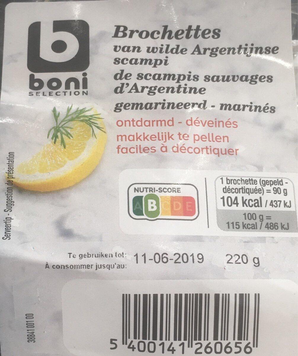 Brochettes de scampis sauvages d'Argentine marinés - Product - fr