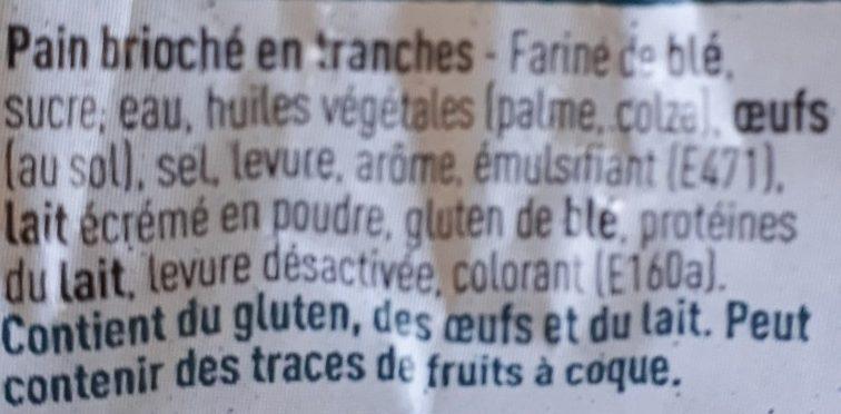 Brioche en tranches - Ingrediënten