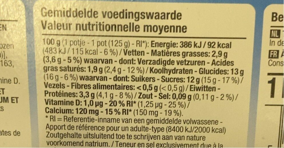 Yaourt fruits mixés - Nutrition facts - nl