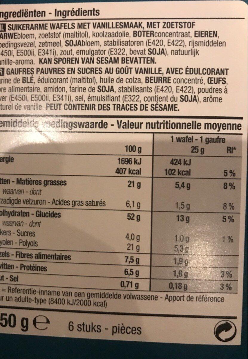 Gaufres au gout vanille - Voedingswaarden