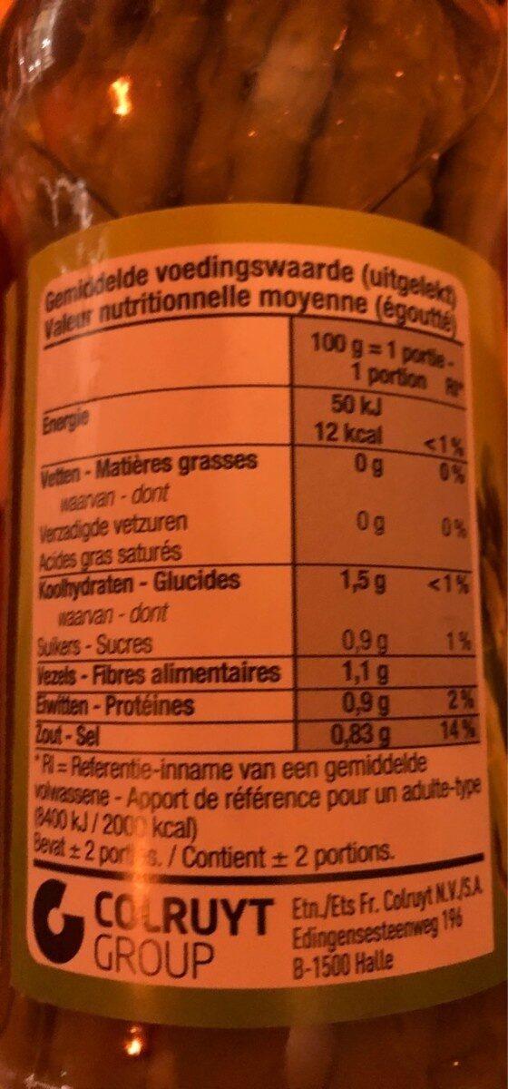 Groene asperges - Informations nutritionnelles - fr