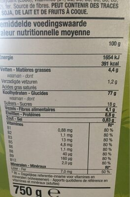Choco clams - Informations nutritionnelles - fr