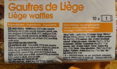 Gaufres de Liège - Voedingswaarden - fr