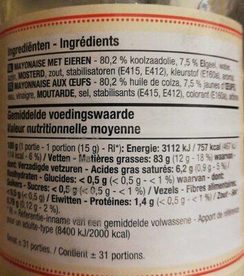 Sauce mayonnaise boni - Informació nutricional - fr