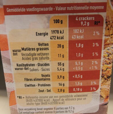 Pizza crackers - Voedingswaarden