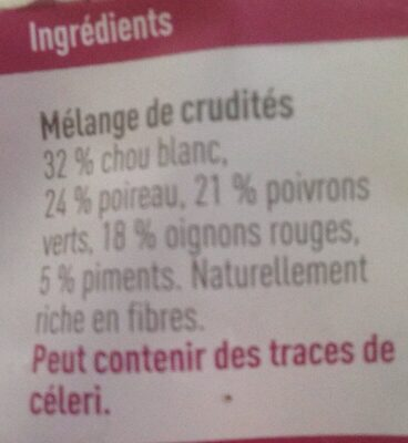 Melange Wok piquant - Ingrédients