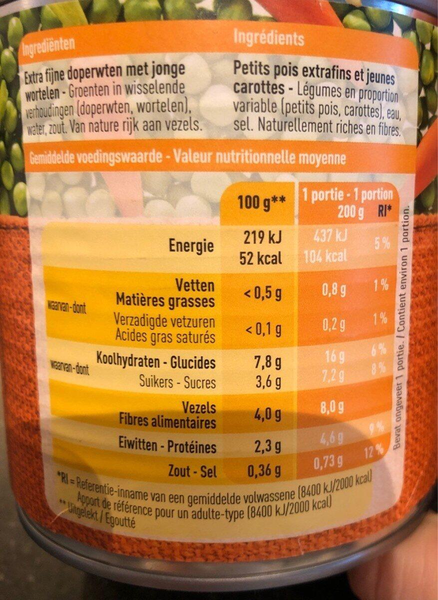 Petits Pois Extrafins Et Jeunes Carottes - Informations nutritionnelles - fr