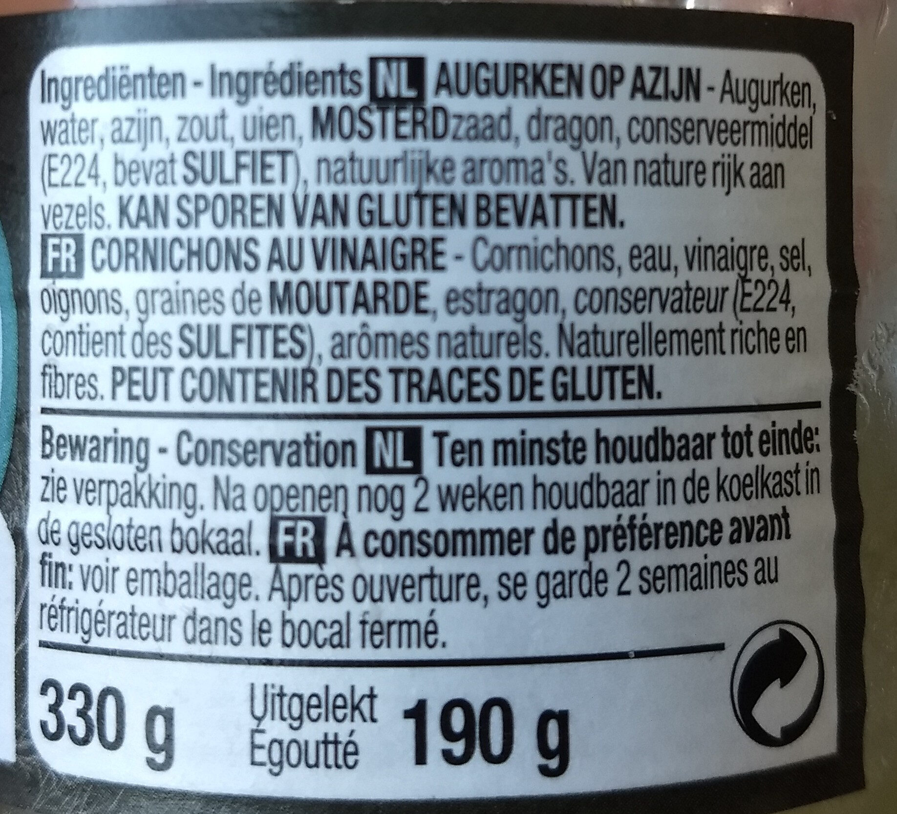 Cornichon au vinaigre - Ingredienti - fr