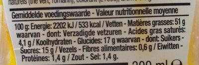 Sauce Hannibal - Voedingswaarden - fr