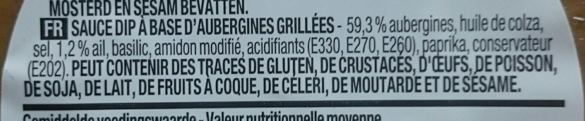 Crème d'Aubergines - Ingredients - fr