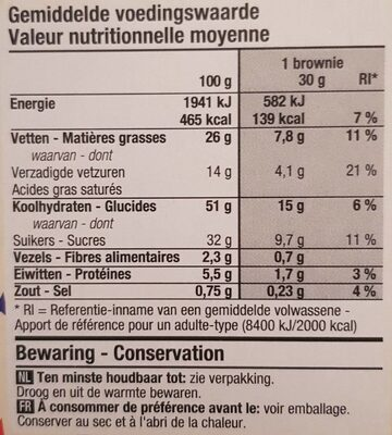 Brownies mini - Nutrition facts