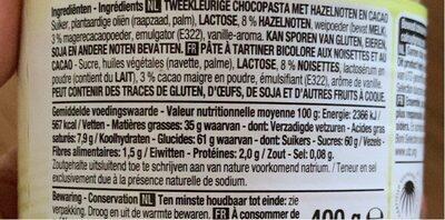 Pâte a tartiner aux noisettes - Voedingswaarden - fr