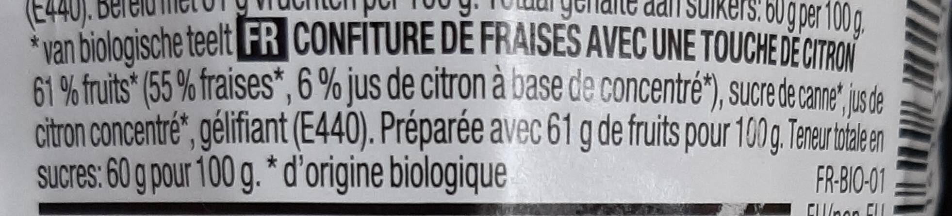 Confiture Bio Fraises - Ingrediënten - fr