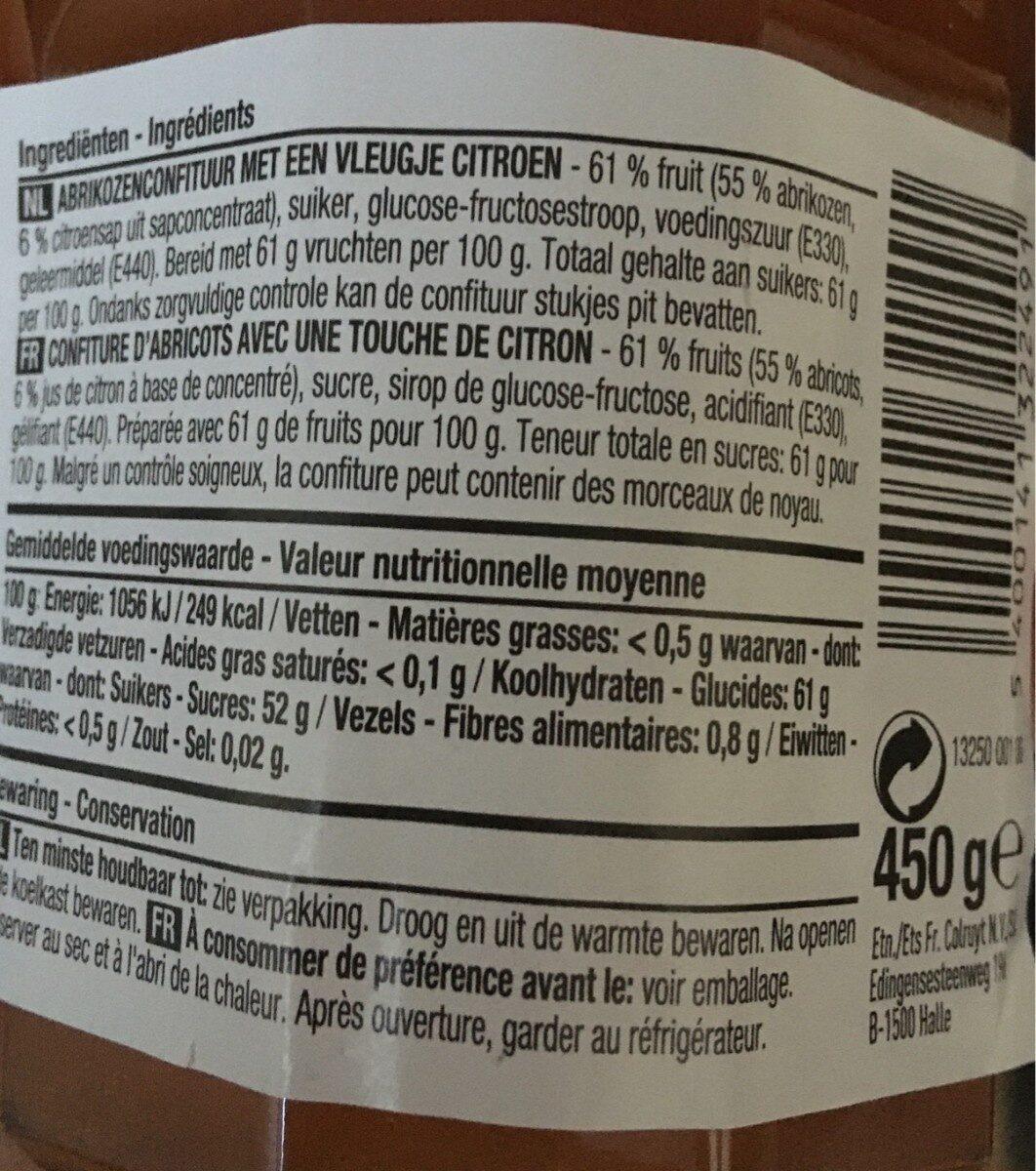 Confiture abricot - Voedingswaarden - fr