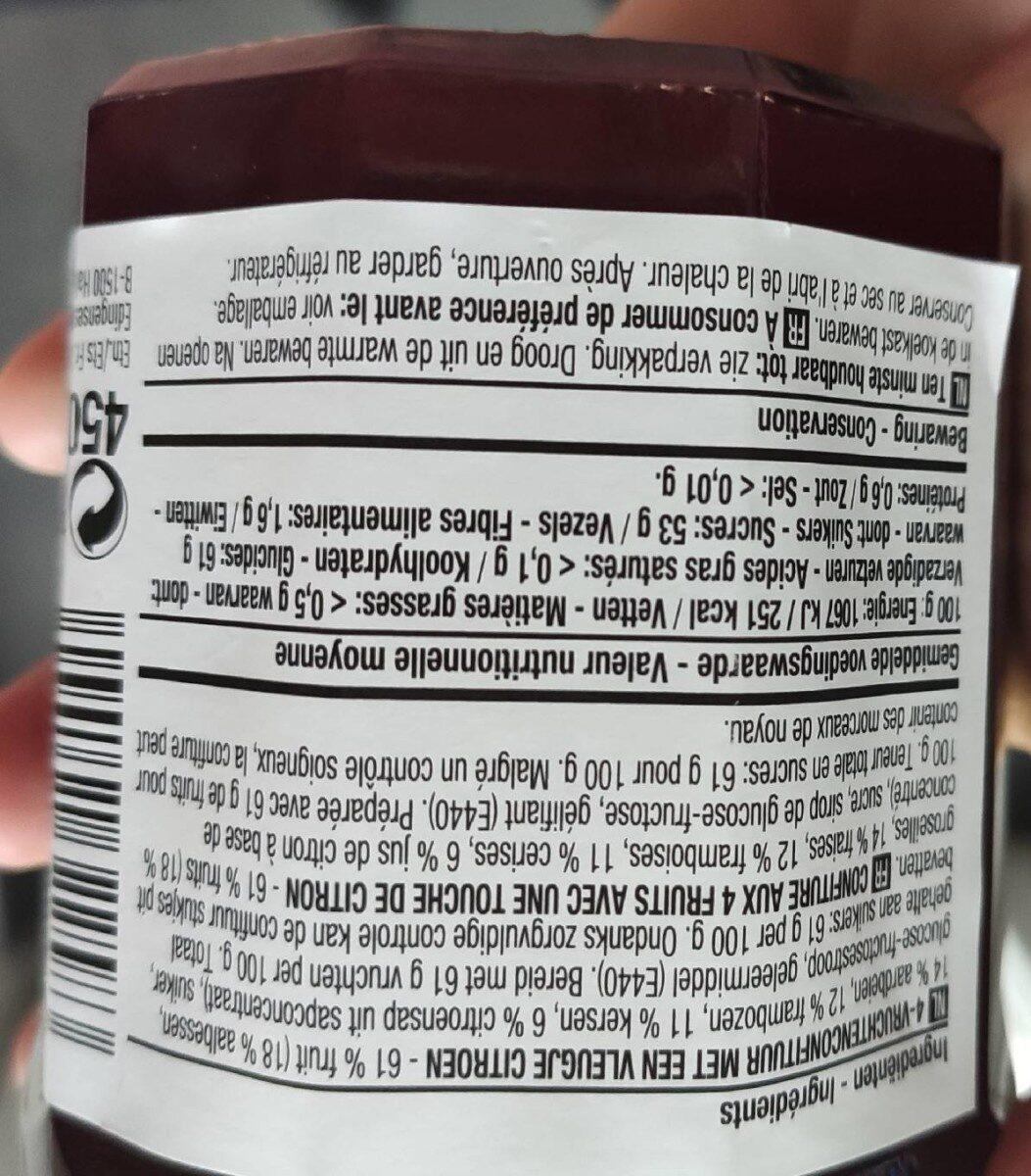 4 rode vruchten confituur - Informations nutritionnelles - fr