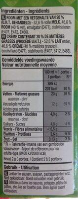 Crème fraiche - Voedingswaarden - fr