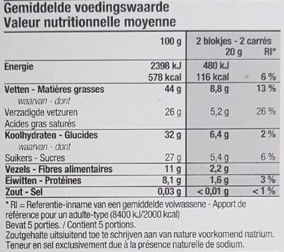 Chocolat noir 72% cacao - Nutrition facts - nl