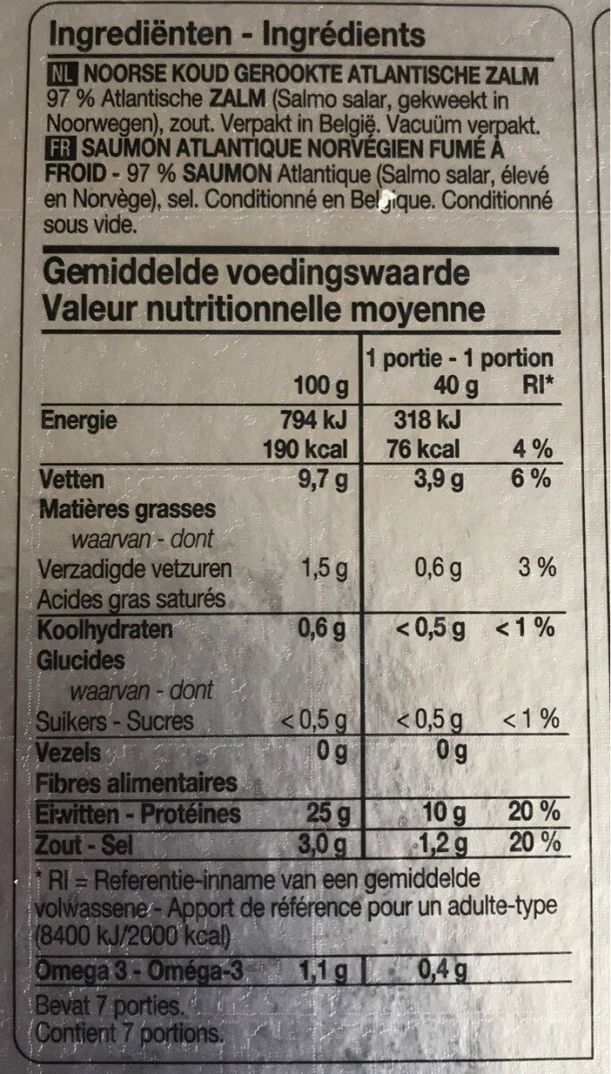 Gerookte Atlantische Zalm - Informations nutritionnelles - fr