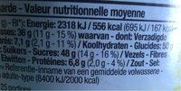 Pâte à tartiner aux noisettes (boni) - Voedingswaarden - fr