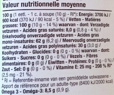 Huile pour salade 100 % colza - Voedingswaarden - fr