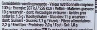 Salades de pommes de terre - Informations nutritionnelles - fr
