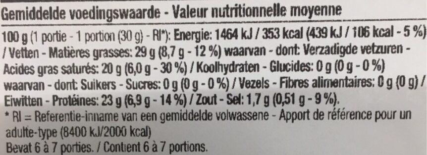 Westhoek en tranches - Informations nutritionnelles - fr