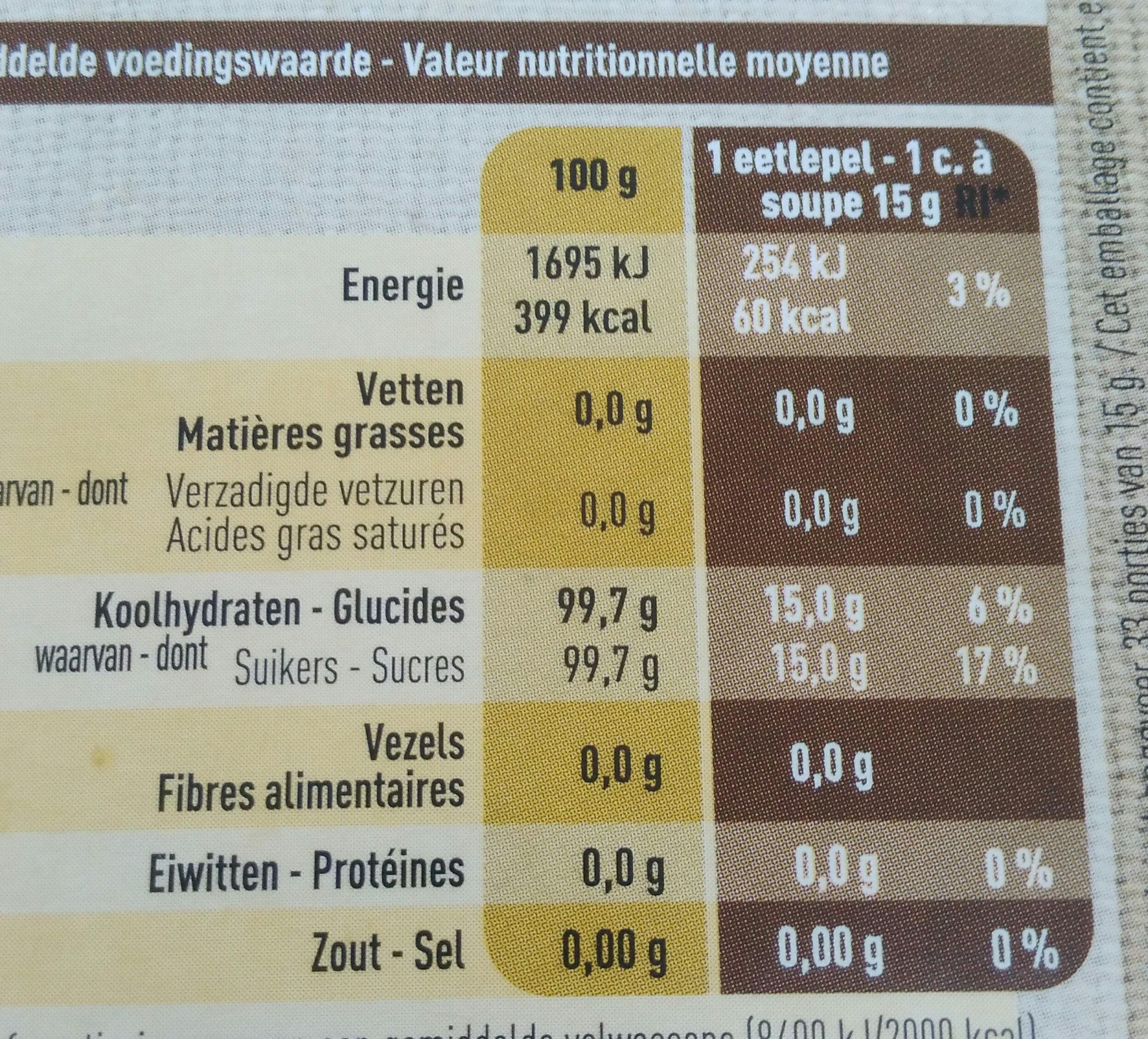 Sucre de canne non raffiné - Voedingswaarden