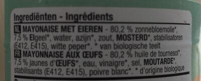 Mayonnaise bio aux oeufs - Ingredients - fr