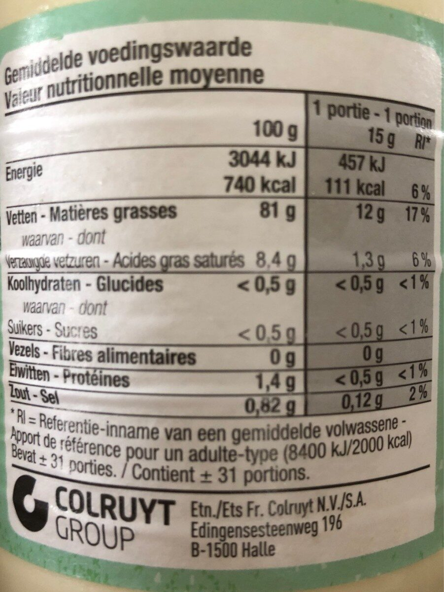 Mayonnaise bio aux oeufs - Nutrition facts - fr