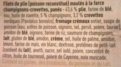 Plie panée farce champignons-crevettes - Ingrediënten
