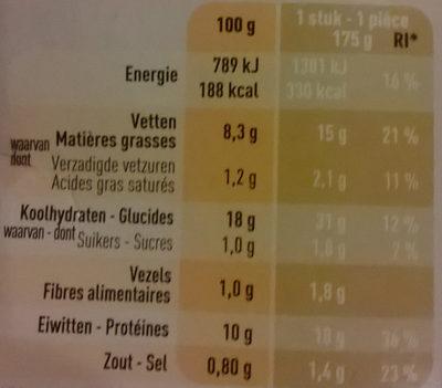 Plie panée farce champignons-crevettes - Nutrition facts